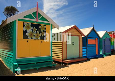 Beach Huts Brighton Beach Melbourne Victoria Australia - Stock Photo