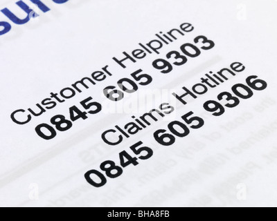Car Insurance Helpline - Stock Photo