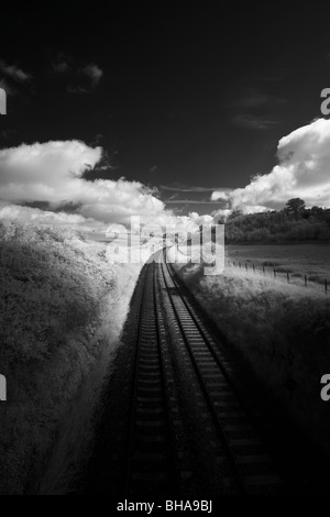Train tracks, Dorset, England, UK - Stock Photo