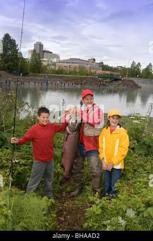 Family Poses for Picture w/Caught King Salmon AK SC/nShip Crk Anchorage Summer Slam'nSalmon Derby