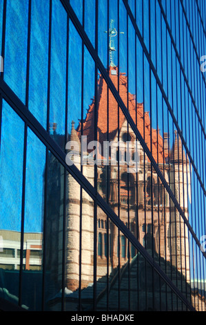 Trinity Church Reflected in the John Hancock Building, Boston, MA - Stock Photo