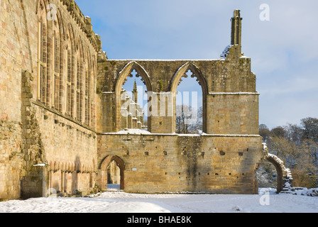 Bolton Abbey, in snow, Wharfedale, Yorkshire Dales National Park, North Yorkshire, England UK - Stock Photo