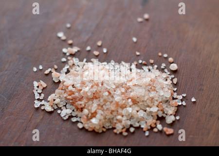 Pink Himalayan rock salt - Stock Photo