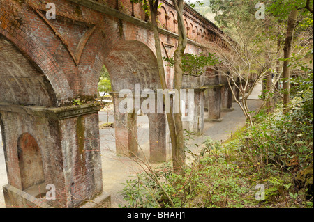 Water Aqueduct  from Lake Biwa Ko running through Nanzenji temple precincts, Kyoto JP - Stock Photo