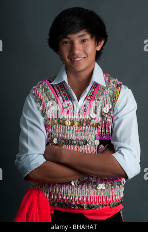 A young fourteen year old boy of Lao-Hmong background - Stock Photo