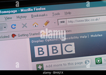 BBC homepage in Mozilla Firefox - screenshot - Stock Photo