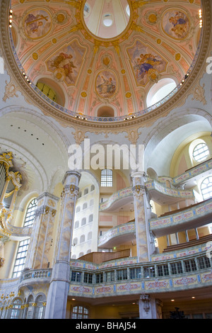 INTERIOR VIEW OF FRAUENKIRCHE CHURCH IN DRESDEN, CHURCH OF OUR LADY, DRESDEN, SAXONY, GERMANY - Stock Photo