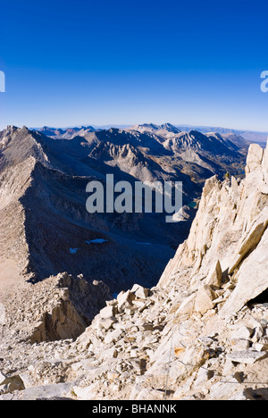 Climbers on the northeast ridge of Bear Creek Spire, John Muir Wilderness, Sierra Nevada Mountains, California - Stock Photo