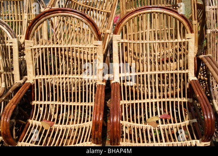 Chair made up of Natural bamboo sticks - Stock Photo