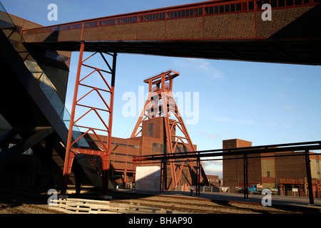 The winding tower of shaft 12 at the Zollverein Coal Mine Complex Essen, North Rhine-Westphalia, Germany - Stock Photo