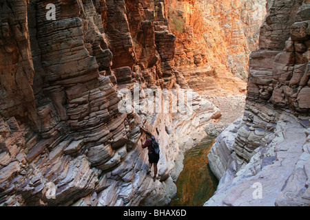 The olive trail in the naukluft mountains in namibia travels through a slot canyon. - Stock Photo