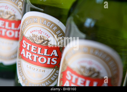 Belgian Stella Artois beer in bottles. - Stock Photo