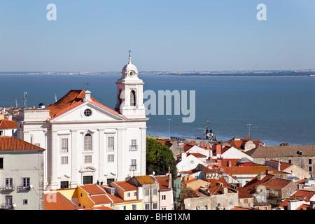 Alfama District with Santo Estevao Church and the Tagus River estuary seen from Miradouro de Santa Luzia. Lisbon, - Stock Photo