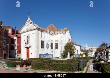 Santa Luzia Church and Miradouro de Santa Luzia (belvedere / terrace) in Alfama. Lisbon, Portugal. - Stock Photo
