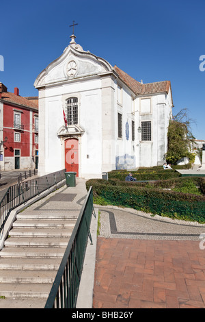 Santa Luzia Church and Miradouro de Santa Luzia (belvedere / terrace) in Alfama. Lisbon, Portugal. - Stock Photo