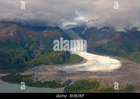 View of Barrier Glacier entering into the east side of Chakachamna Lake, Alaska Range, HDR image - Stock Photo
