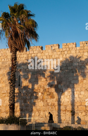 orthodox jew walking along the city walls of the old city of Jerusalem with palm tree and shadows - Stock Photo