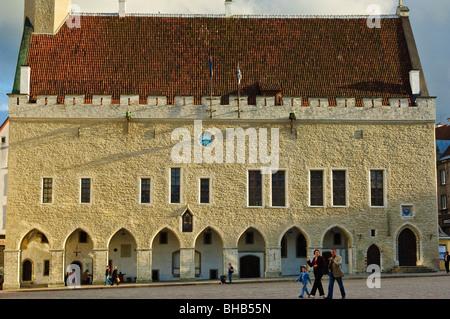 The mediaeval Raekoda (Town Hall) in Raekoja plats (Town Hall square), Tallinn, Estonia - Stock Photo