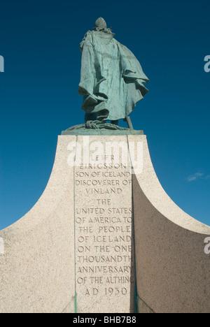 Leif Ericsson statue, Reykjavik, Iceland - Stock Photo