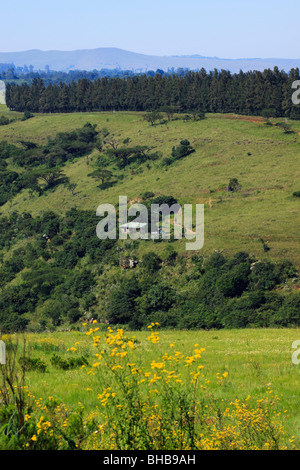 Isolated cabin in the African bush overlooking lush, fertile valley. Midlands, Kwazulu Natal, South Africa. - Stock Photo