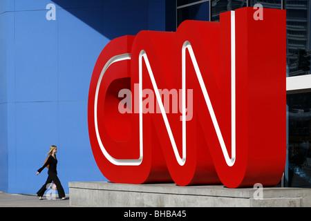 Entrance, CNN Headquarters , Atlanta, Georgia, USA - Stock Photo