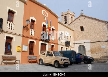 Casa Consistorial & church, village square, Alcala de la Jovada, Vall de Alcala, Alicante Province, Comunidad Valenciana, - Stock Photo