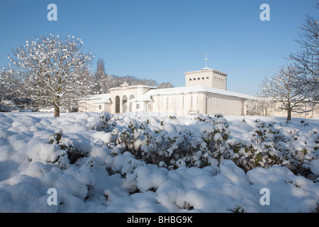 Air Forces Memorial Runnymede - Portico & East Wing / Lookout with Snow Laden Trees - Stock Photo