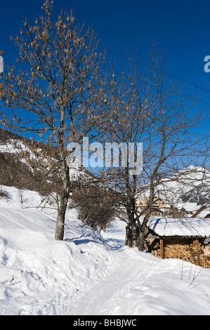 Path above the village of Le Bez, La-Salle-Les-Alpes, Serre Chevalier, Hautes Alpes, France - Stock Photo