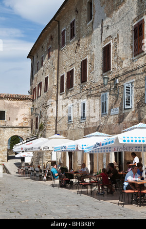 Cafe culture in Motovun Istria Croatia - Stock Photo