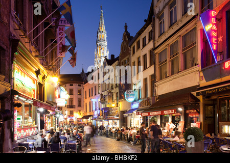 Pavement Cafes viewed at dusk, Brussels Belgium - Stock Photo