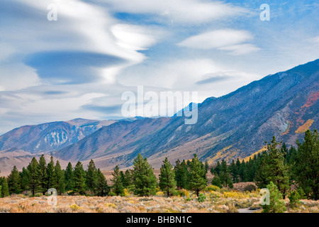 Lenticular clouds above the Eastern Sierra Mountains, California - Stock Photo