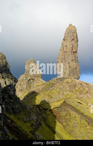 The Storr Pinnacles and the Old Man of Storr, Isle of Skye. - Stock Photo