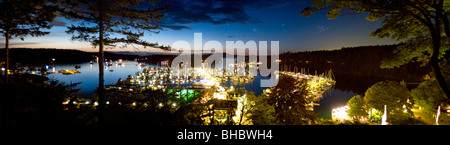 An evenings panoramic view out over Roche Harbor and Marina on San Juan Island in Washington State. This marina - Stock Photo