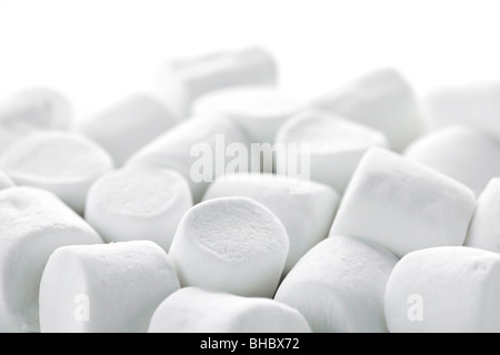 Close up of many plump sweet marshmallows - Stock Photo