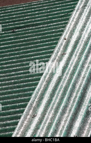 asbestos type sheets on property roof in sun - Stock Photo