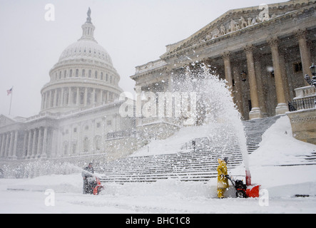 Snow scenes around the United States Capitol Building - Stock Photo