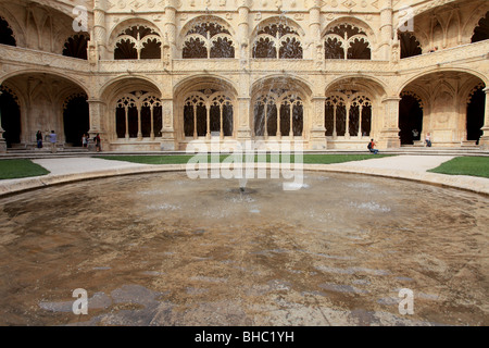 The interior of the monastery of Jeronimos dated between the 15th and 16th century is a UNESCO patrimony building - Stock Photo