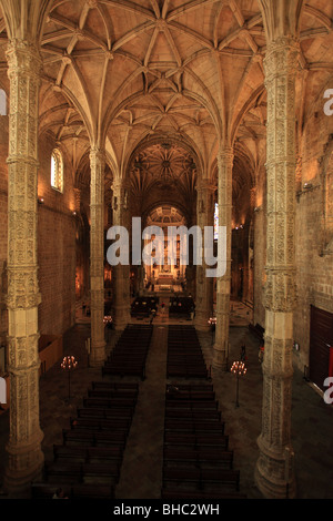 The interior of the monastery of Jeronimos dated between the 15th and 16th century is a classified UNESCO patrimony - Stock Photo