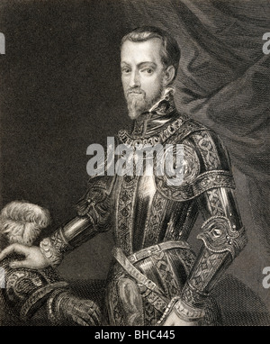 Philip II 1527 to 1598. King of Spain, Portugal, Naples, Sicily and while married to Mary I, King of England and - Stock Photo