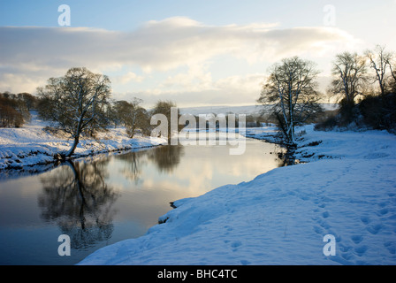River Wharfe near Bolton Abbey in winter, Wharfedale, North Yorkshire, England UK - Stock Photo