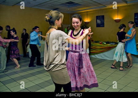 Paris, France, French Teens Dance Salsa at party, Learning Dancing with Instructor - Stock Photo