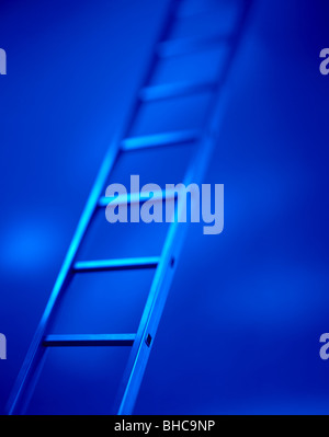 Blue Ladder Reaching the Heights - Stock Photo