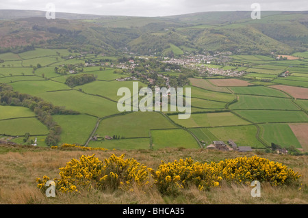 The Somerset town of Porlock viewed from Bossington Hill - Stock Photo
