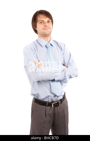 Handsome young businessman, isolated on white background - Stock Photo