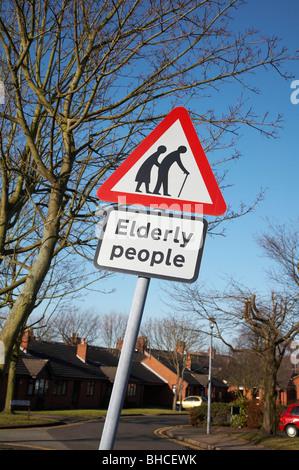 Elderly people road sign - Stock Photo