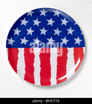 Red white blue plastic plate patriot patriotic flag - Stock Photo
