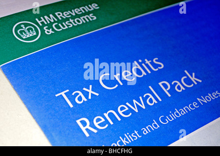 the hmrc  revenue tax credits renewal pack - Stock Photo