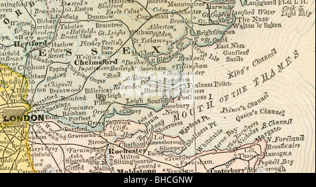 Original old map of Mouth of Thames from 1884 geography textbook - Stock Photo