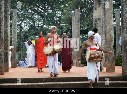 A  parade at Ruwanweliseya Dagoba Anuradhapura Sri Lanka - Stock Photo