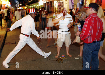 Street Performer, Bourbon Street, French Quarter, New Orleans, Louisiana, USA - Stock Photo